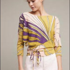 Multicolored yellow sweater, Anthropologie